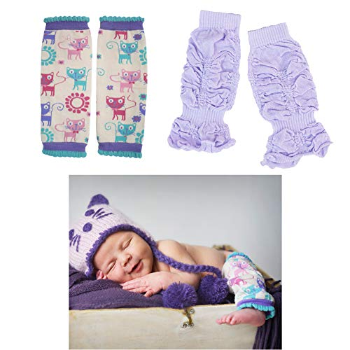(Huggalugs 2 Pack Baby Girl Leg Warmers Meow Kitty Cat and Lilac Kisses Legruffles )