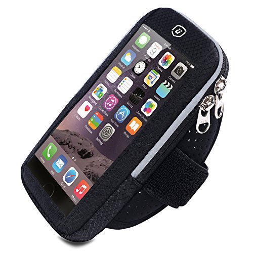 Sports Armband, Elegant Choise Fingerprint Touch Water-resistant Multifunctional Pockets Running Arm Bag Adjustable Velcro Armband for iPhone X 8 7 6S, Galaxy S9 S8 S7 Edge and More (Black) by Elegant Choise