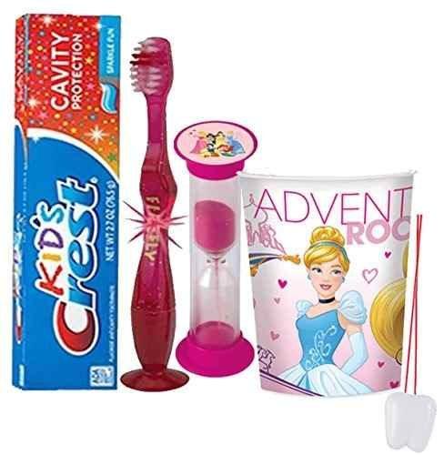 Princess Tooth - Disney Princess Inspired 4pc Bright Smile Oral Hygiene Set! Flashing Lights Toothbrush, Toothpaste, Brushing Timer & Mouthwash Rinse Cup! Plus Bonus