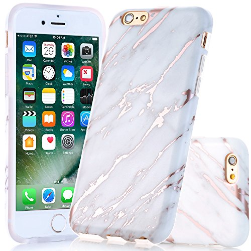 BAISRKE Shiny Rose Gold Beige Marble Design Slim Flexible Soft Silicone Bumper Shockproof Gel TPU Rubber Glossy Cover Phone Case Compatible with iPhone 6 Plus / 6s Plus [5.5 inch]