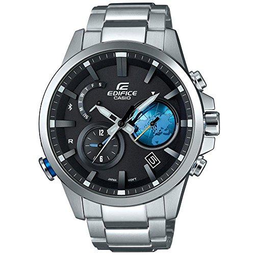 Casio Edifice EQB600D-1A2 Bluetooth Watch w/ 3-D Black Globe Dial Stainless Steel