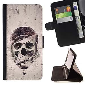 Momo Phone Case / Flip Funda de Cuero Case Cover - Geometría Cráneo - Grunge - Motorola Moto E ( 2nd Generation )