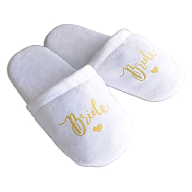 96246eb2c5b Amazon.com: F&M HANDMADE Bridesmaid Slippers, Personalised Wedding ...