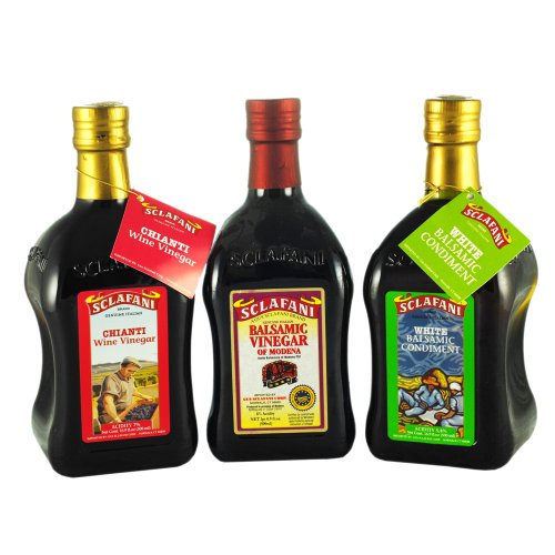 White Balsamic, Balsamic & Chianti Wine Vinegars of Modena Gift Pack of Three Pinch Bottles 500 ml ea.