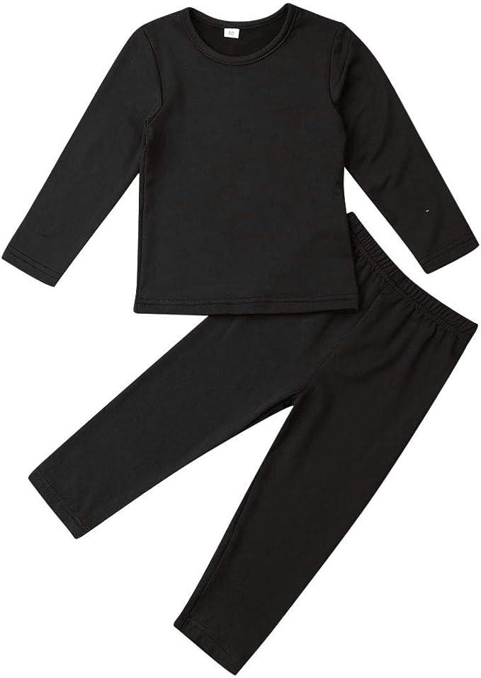 Pants Infant Kids Boys Girl Plain Sleepwear Nightwear Pjs Pyjamas Tops