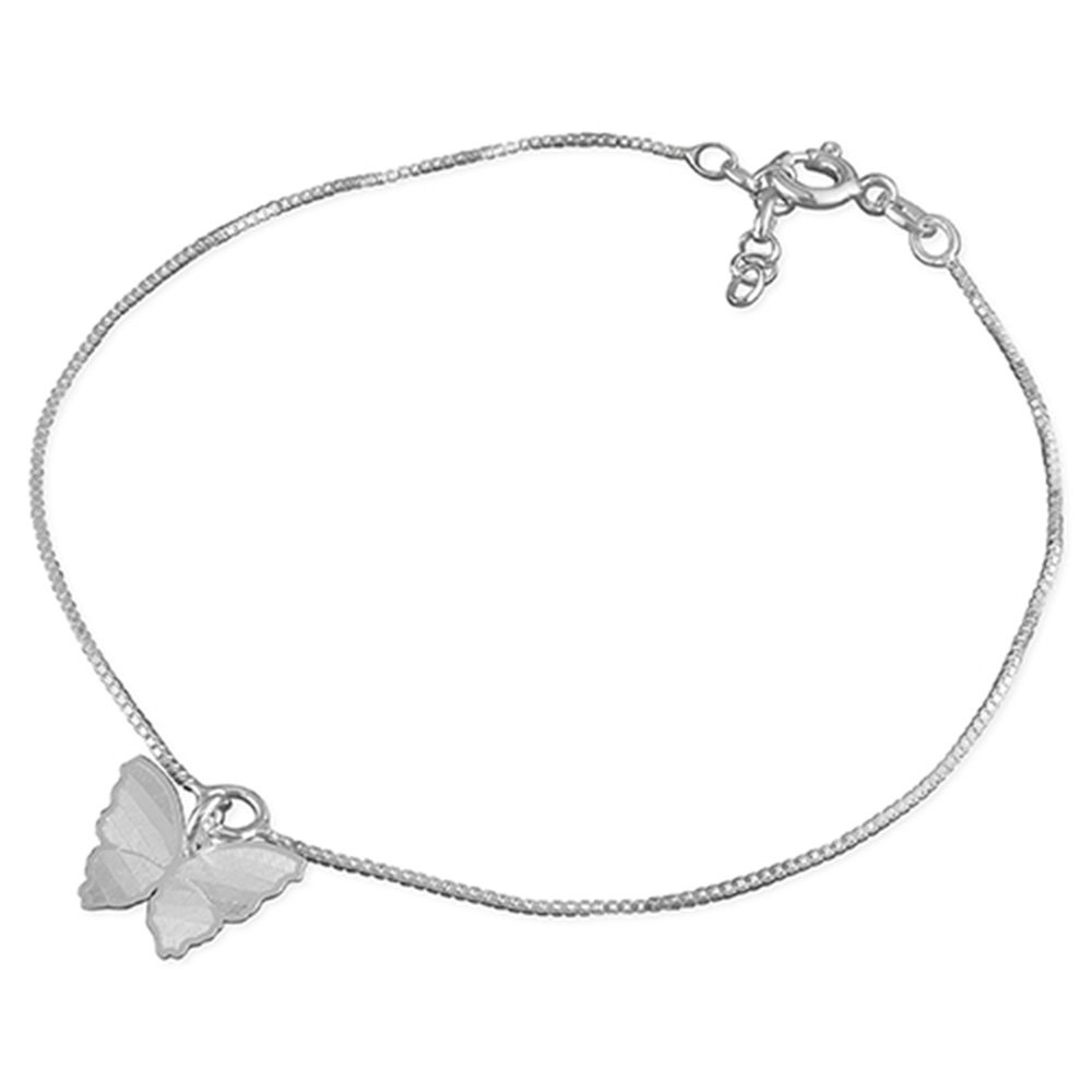 Butterfly Charm On Chain Sterling Silver Anklet/Ankle Bracelet/Ankle Chain - 9.75 Inch/25cm - Anklets For Women M & M Jewellery H1812-25-1CME-M&M-ANKLET