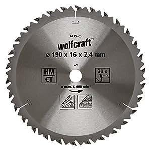 Wolfcraft 6735000 - Disco de sierra circular HM, 30 dient., serie marrón Ø 190 x 16 x 2,4 mm