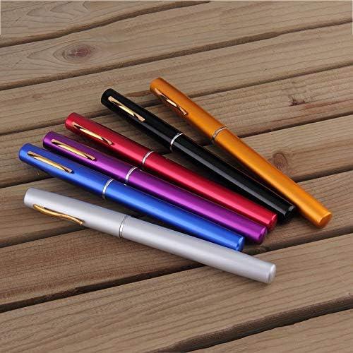 cvbf Angelrute Tragbare Mini-Angelrute Aluminiumlegierung Stiftform Angelrute mit Rollenrad 6 Farben