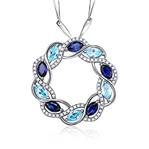 Merthus Womens 925 Sterling Silver Created Blue Sapphire & Topaz Circle Pendant Necklace