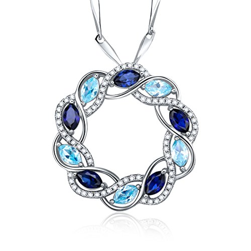 Merthus Womens 925 Sterling Silver Created Blue Sapphire & Topaz Circle Pendant Necklace - Topaz Circle Pendant
