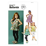 BUTTERICK PATTERNS B5877 Children's Girls' Top/Tunic Dress/Belt and Leggings Sewing Templates, Size CL
