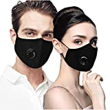 Air Pollution Face Mask with Filter and Respirator - Military Grade N95 N99,Anti-Dust, Smoke, Germs and Flu - Cotton Washable Respirator Breathing Mask (Includes 2Pcs Respirator and 10 Filters)