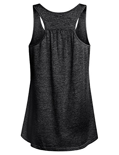 Miusey Tank Tops for Women Juniors Sleeveless Loose Fit Flowy Fitness Summer Activewear Running Yoga Workout Racerback in Sports Shirts Black M by Miusey (Image #1)