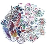 Aesthetic Dreamy Feather, Dream Catcher, Butterfly, Peony and Plants Washi Writable Stickers Sets for Diary, Album Notebook, Scrapbook, Phone Case, Envelop, Planners, Stationery and Journals (120 Pcs)