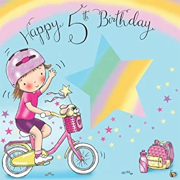 Twizler 5th Birthday Card For Girl With Cute Bike And Cut Out Star