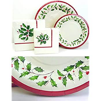 Amazon.com: lx112 Lenox Holly Paper Plates and Napkins Set ...
