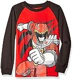 Power Rangers Boys' Little Boys' Long Sleeve Raglan T-Shirt, Red/Black, Medium/5/6