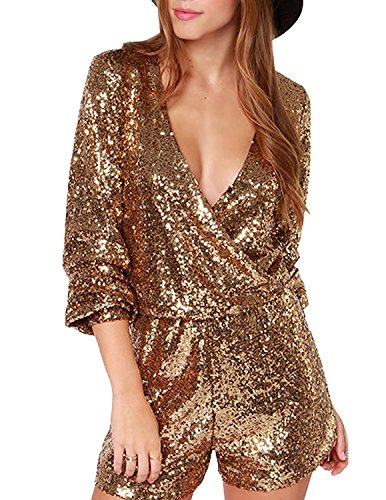 U-WARDROBE Womens Sequin Mermaid V Neck Wrap Tunic Party Disco Jumpsuit Romper Gold S (Disco Jumpsuits)