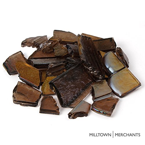Milltown Merchants™ Recycled Art Glass - Random Assortment of Mosaic Pieces (1 pound, Brown) (Ceramic Art Pieces)
