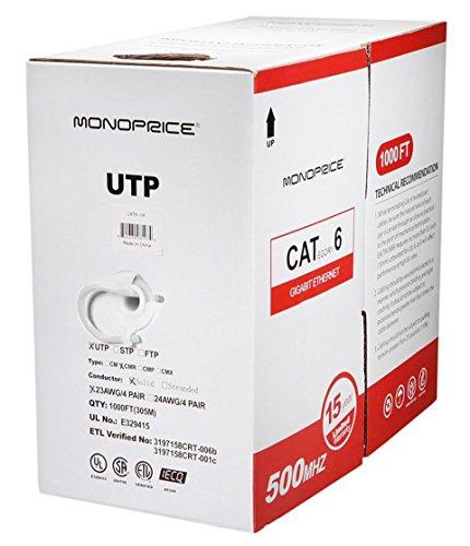 USG 1000ft Cat 6 Pure Copper Network Cable + 50x Premium Cat6+ RJ45 Crimp Clamshell Connectors + 1x Network Cable Tester + 1x RJ45, RJ-12, RJ-11 Crimp, Cut, & Strip Tool