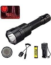 Bestsun Zaklamp voor jacht, jacht, led-zaklamp met rood licht Coyote Hog 350 lumen lange afstanden, jachtlamp met drukschakelaar, accu en oplader