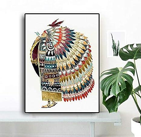 KWzEQ Acuarela India con Cartel de pájaro de Plumas Decoración nórdica para niños,Pintura sin Marco,75x100cm
