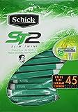 45 Schick ST2 Slim Twin Disposable Razors Sensitive Vitamin E