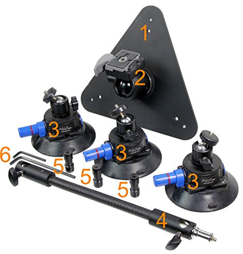 ALZO Three Point Car Camera Mount with Triangle Plate and 3 Suction Mounts by ALZO Digital