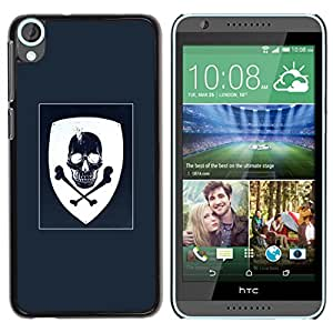 Paccase / SLIM PC / Aliminium Casa Carcasa Funda Case Cover - Coat Of Arms Blue White Skull Pirate - HTC Desire 820