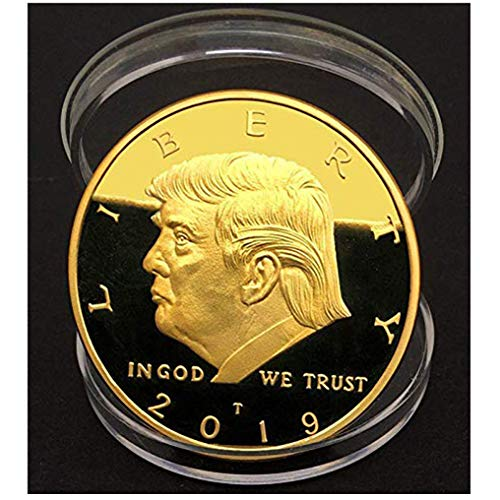 (Trump Coin; 2019 Donald Trump Large 24kt Gold Plated United States Eagle Commemorative Collectible Coin Certificate of Authenticity Original Design)