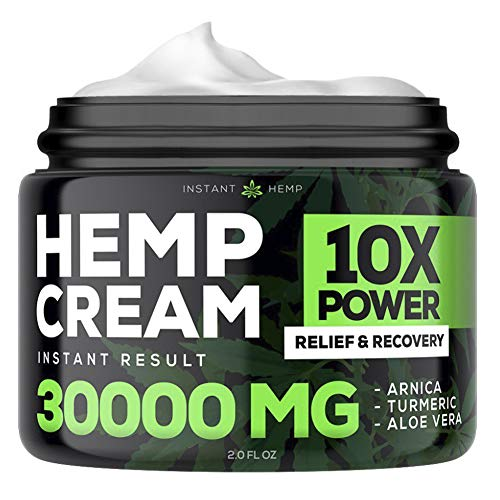 Instant Hemp Pain Relief Cream - 30000 Mg - Relieve Muscle, Joint & Arthritis Pain - Natural Hemp Extract for Arthritis, Foot &