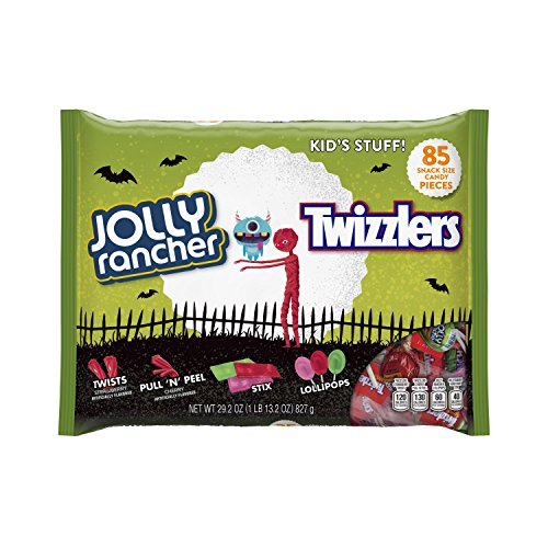 Hershey Halloween Snack Size Hard Candy Assortment (JOLLY RANCHER Lollipops, JOLLY RANCHER Stix, TWIZZLERS Strawberry Twists, and TWIZZLERS PULL 'N' PEEL Candy), 29.2 Ounce (85 (Hard Halloween)