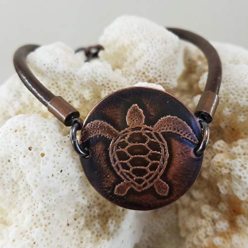 (Etched Copper Sea Turtle Leather Bracelet)