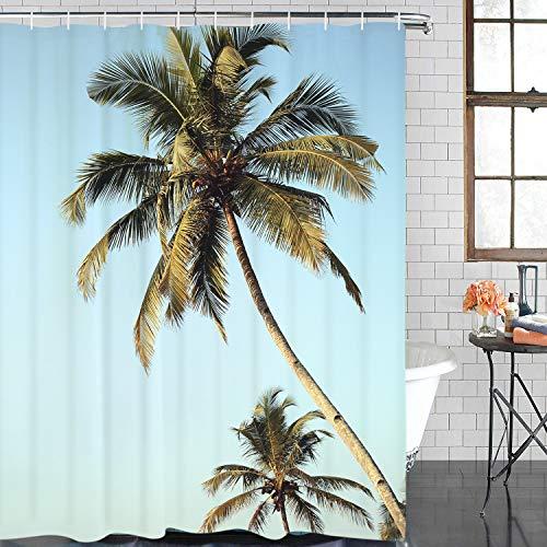 BLEUM CADE Palm Tree Shower Curtain Beach Tropical Coast Coconut Bathroom Curtain Waterproof Bathroom Decor Accessory with Hooks