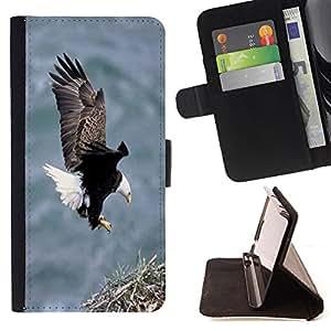 King Air - Prima caja de la PU billetera de cuero con ranuras para tarjetas, efectivo Compartimiento desmontable y correa para la mu?eca FOR LG Google Nexus 5 E980 D820 D821- Bald Eagle American