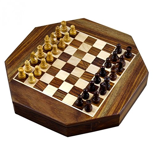 Zap Impex ® Wooden magnetic chess Octangle ChessMen Set Wooden Board Travel Games 9 Inches by Zap Impex ®