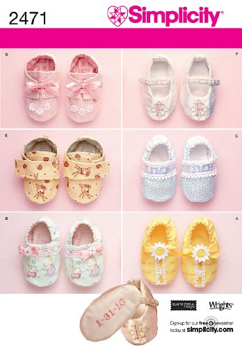 Simplicity Sewing Pattern Baby Shoes 6 Variations Designed by Elaine Heigl, 2471