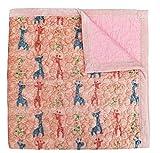 J-pinno Colorful Giraffe Reversible Bedding Coverlet Quilt Bedspread Throw Blanket for Kid's Boy Girl Bed Gift, Soft Short Plush Velvet + Washed Cotton (Twin 59'' X 78'', giraffeP)