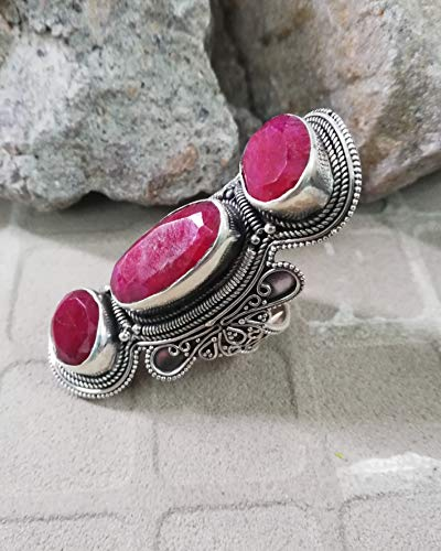 Baguette Ruby Ring 925 Sterling Silver Long Vine Filigree Ring Full Finger Ring New Issued Ring Ultimate & Unique Piece Statement Ring Loving Ring Exquisite Ring Original Handmade Victorian Ring Gift