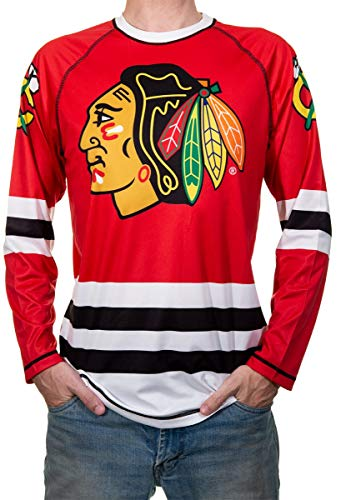 NHL Men's Game Day Long-Sleeve Performance Loose Fit Rash Guard (Chicago Blackhawks, Large)