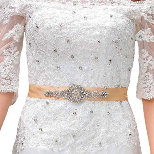 - Chicer Wedding Crystal Dress Belts Sashes Accessories with Ribbon for Women and Girls (Khaki)