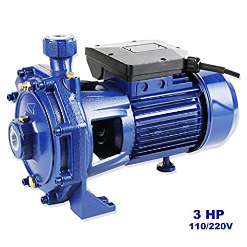 GENPAR 3HP Heavy Duty Centrifugal Electric Clear Water Pump Iron cast Pump Dual Voltage 110/220 1 phase motor 1.25