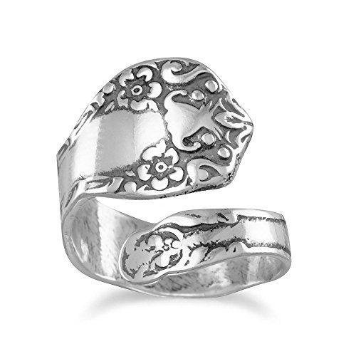 Spoon Ring Adjustable Size 6-11 oxidized 925 sterling silver floral design spoon ()