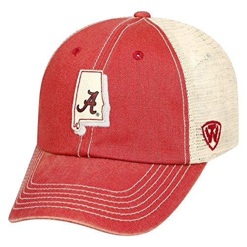 Top of the World NCAA-United Two Tone Trucker Mesh-Adjustable Snapback-Hat Cap-Alabama Crimson (2 Tone Ncaa Cap)