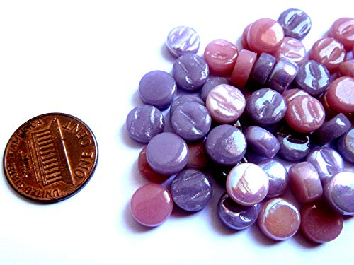 100 Mini Round Pink and Purple Mosaic Tiles, Glass Mosaic Pieces, Ceramic Mosaic Tiles, Mosaic Art Supplies, Tile Mosaic Supply, Mosaic Craft Tiles, 8 mm