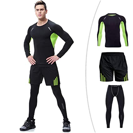 012973240a0aac ChenYongPing Herren-Fitness-Bekleidungs-Set 3 Stücke Mens Fitness Gym  Kleidung Set Sportbekleidung