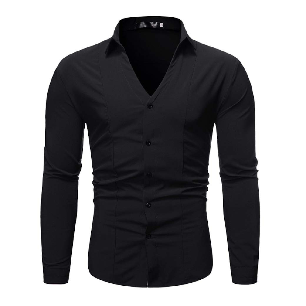 Sebaby Mens Pure Color Long-Sleeve Slim Fit Turn Down Collar Casual Longshirt
