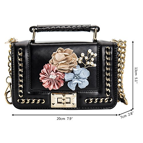 Women's Bags Bag Shoulder Flower Purse Crossbody Black Messenger Ladies Small Vintage with White Handbags rfrpHg