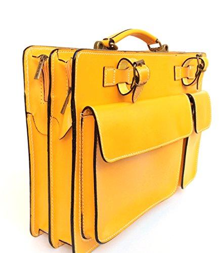 Superflybags Borsa Cartella Porta documenti Vera Pelle Made in Italy modello Classic XL 38x27x10 giallo