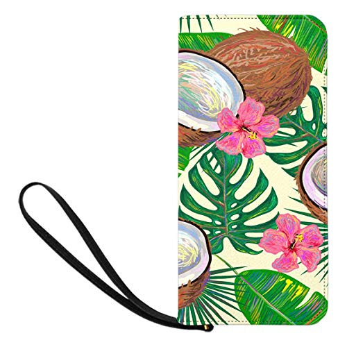 InterestPrint Women's Tropical Coconut and Flowers Banana and Palm Leaves Purse Clutch Bag Wristlet Wallet with Strap